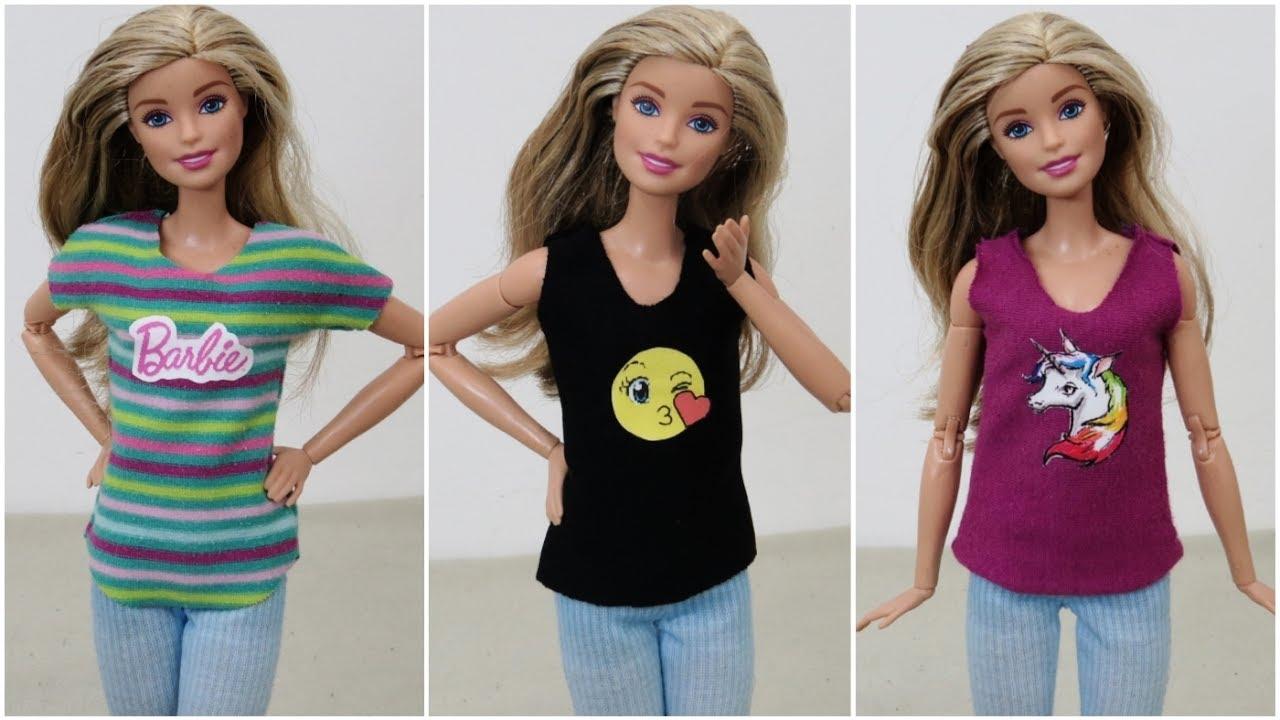 Camisetas Estampadas para Barbie DIY - YouTube