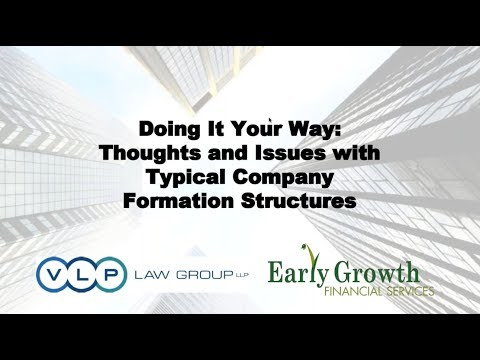 Doing It Your Way: Thoughts and Issues with Typical Company Formation Structures