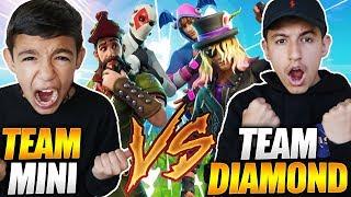 Team Diamond vs Team Mini! Fortnite 2v2 Against 10 Year Old Little Brother!