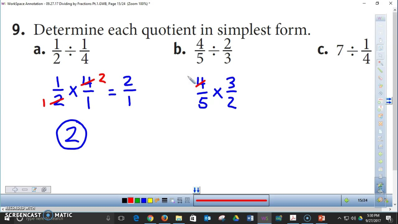 Dividing by Fractions HW Pg. 74 - YouTube
