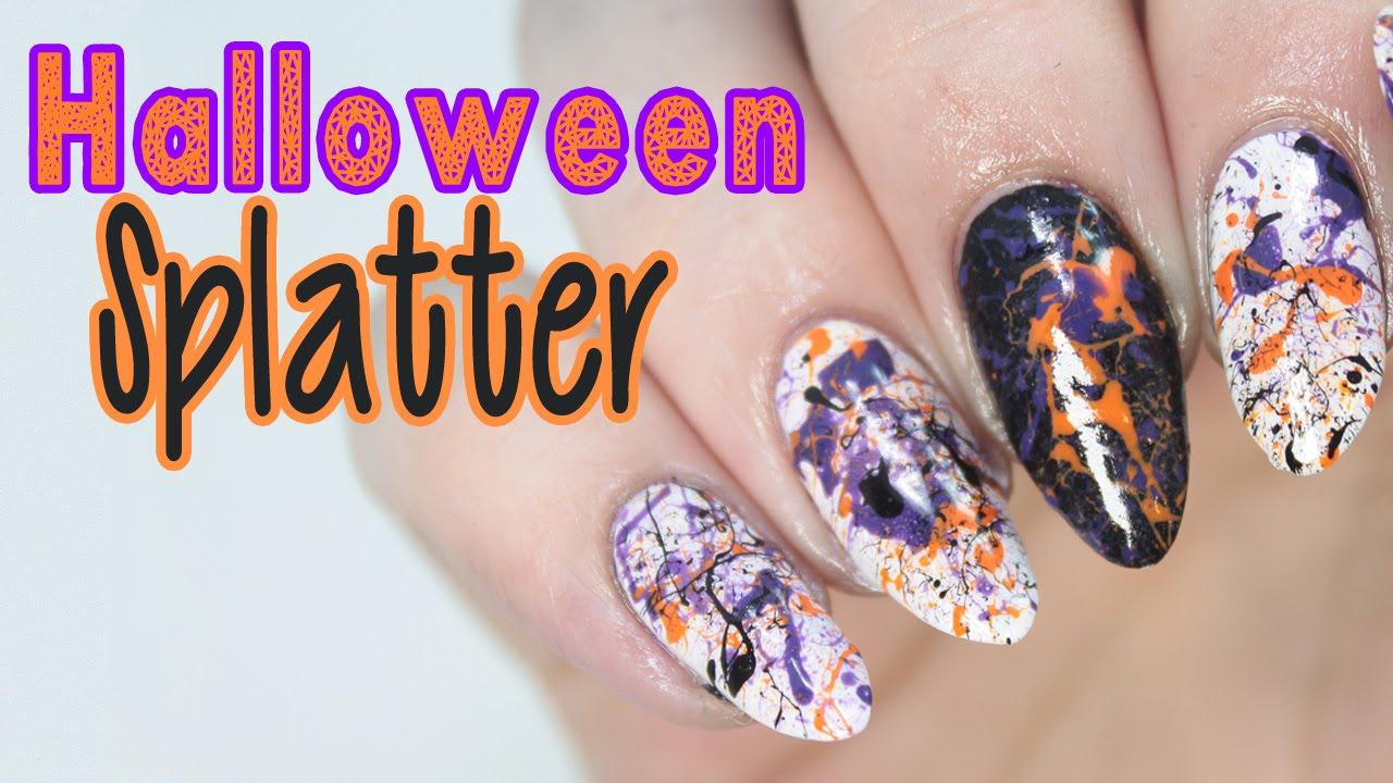 Easy Halloween Splatter Nail Tutorial - YouTube