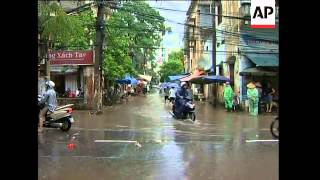 Heavy rains cause flooding in streets of Hanoi