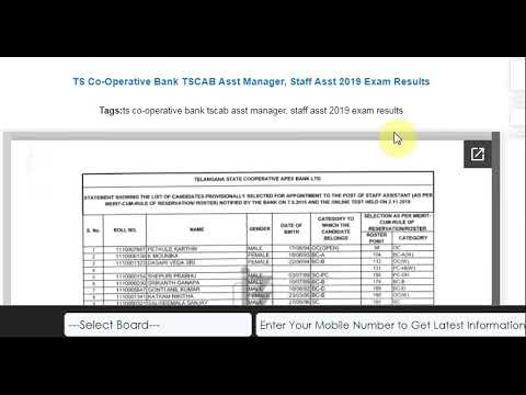 TS Co-Operative Bank TSCAB Asst Manager, Staff Asst 2019 Exam Results
