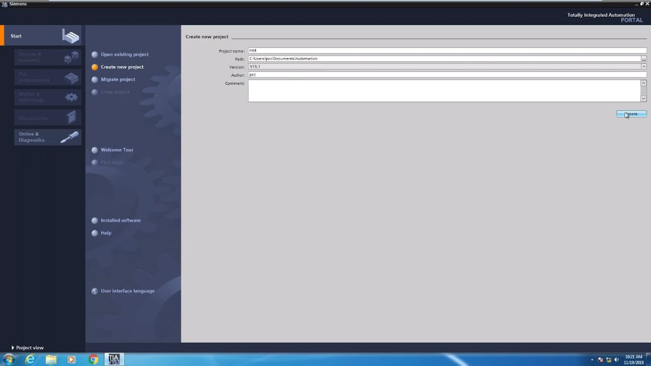 Lesson 1- Create your first WinCC TIA Portal HMI Project