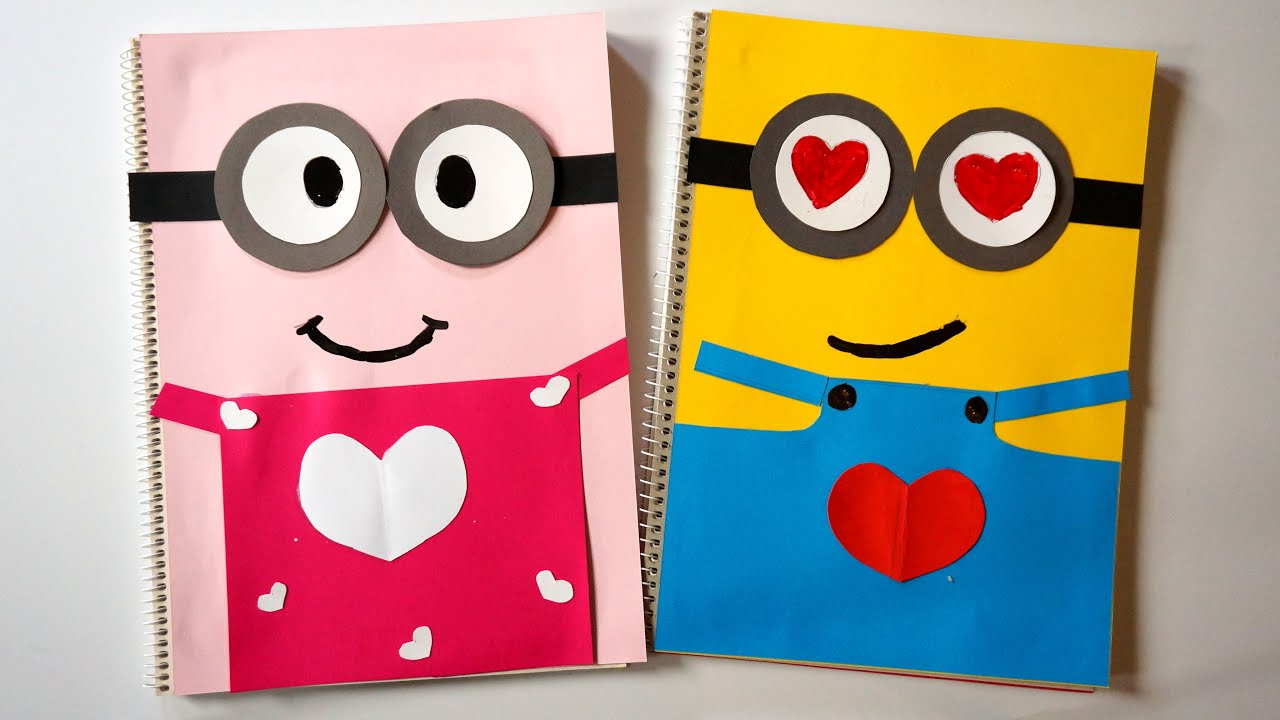 Diy Minion Book Cover : Love minions notebook covers diy valentine day pink