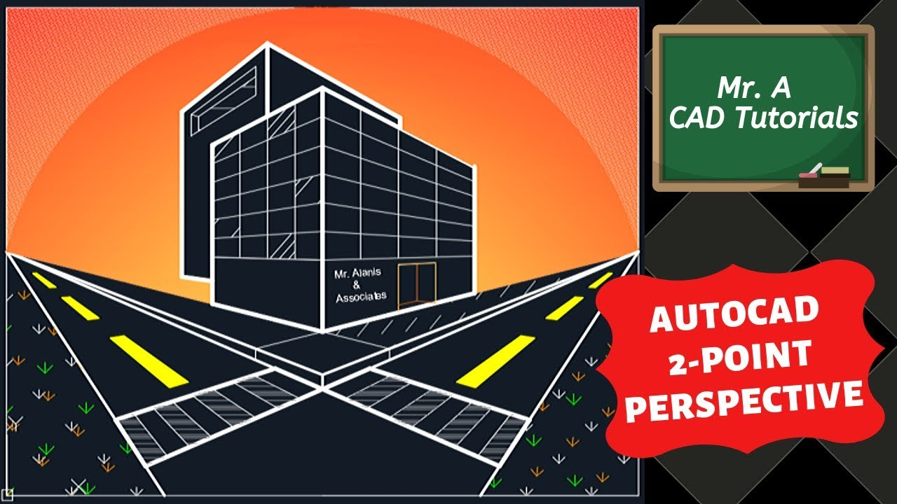 AutoCAD 2 Point Perspective Drawing YouTube