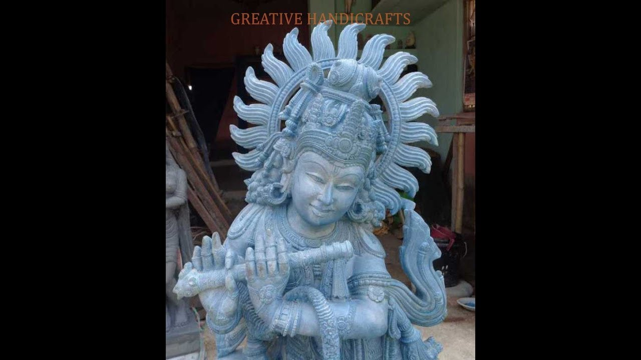 Crafting Beautiful Lord Krishna Statue In Black Stone