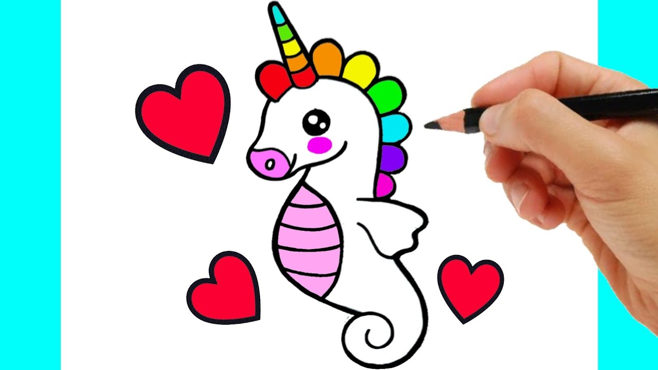 HOW TO DRAW SEA HORSE EASY STEP BY STEP - DRAWING SEA HORSE KAWAII