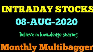 Day trading stocks 10-08-2020  Best stocks with huge potential for intraday