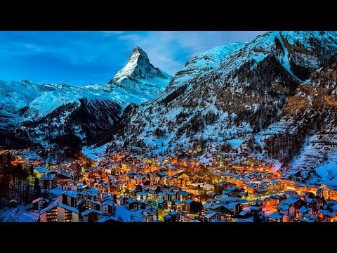 На швейцарский городок в горах падает снег. Релакс. Спокойная музыка. Успокаивает нервную систему