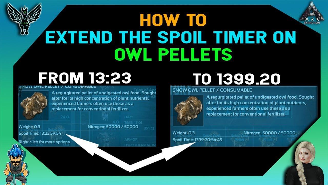 Ark Extinction How To Extend The Spoil Timer On Owl Pellets Youtube