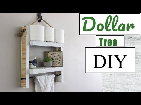DOLLAR TREE DIY| HANGING BATHROOM SHELF| BATHROOM DECOR 2018