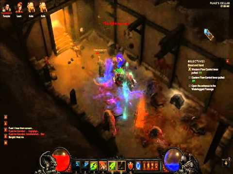 Diablo 3: Templar and witch doctor in Fuad's Cellar [Terror of the Wastes] (inferno difficulty)