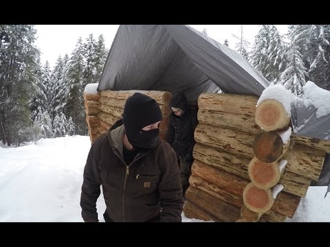 Off Grid Log Cabin Build A Snow Covered Cabin In The Woods Youtube
