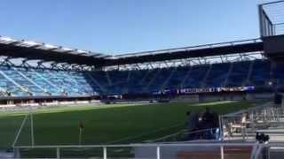 View of Avaya Stadium from next to the bar