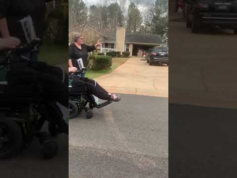 Daniel's first time in his new wheelchair