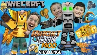 MINECRAFT Ratchet & Clank Lucky Block Challenge Mod! (4-Round Battle w/ FGTEEV Duddy, Chase & Mike)