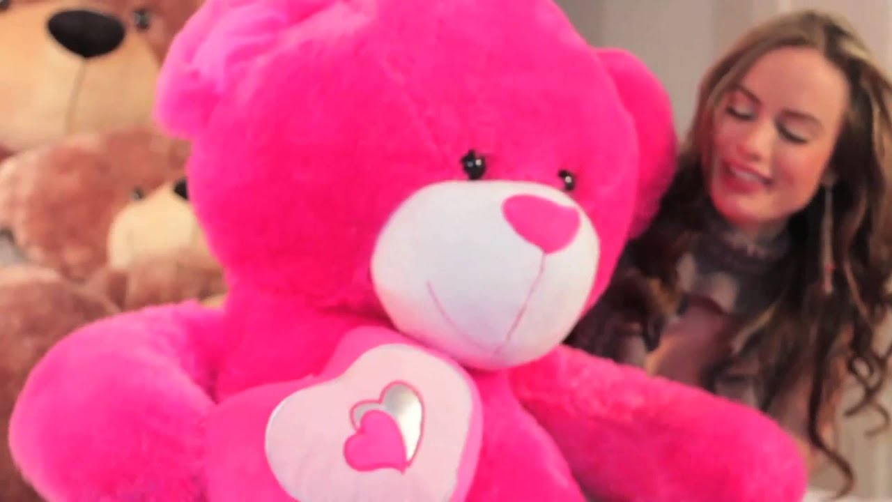 big hot pink valentines teddy bear by giant teddy chacha big love 47 inches youtube