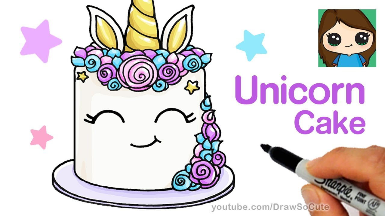 How To Draw A Unicorn Cake Easy Youtube