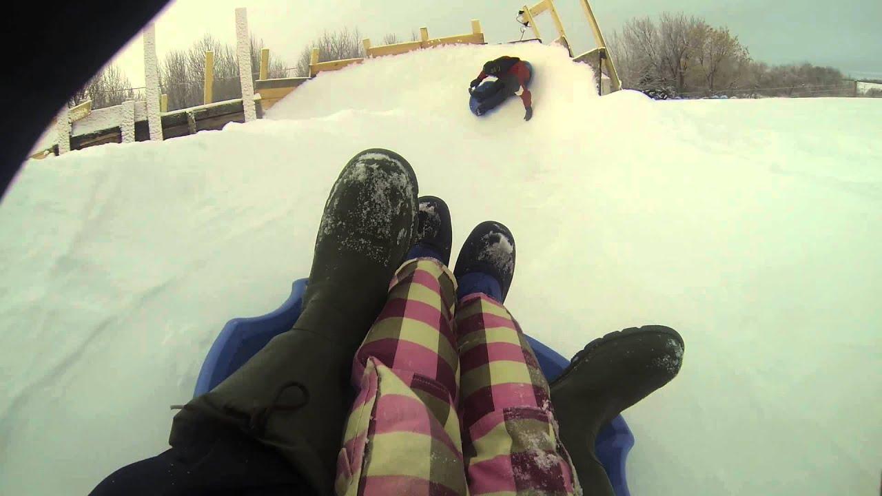 ice slide in back yard youtube