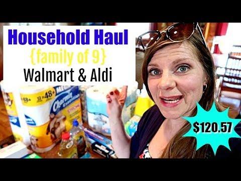 🏠LARGE FAMILY HOUSEHOLD HAUL | Walmart & Aldi