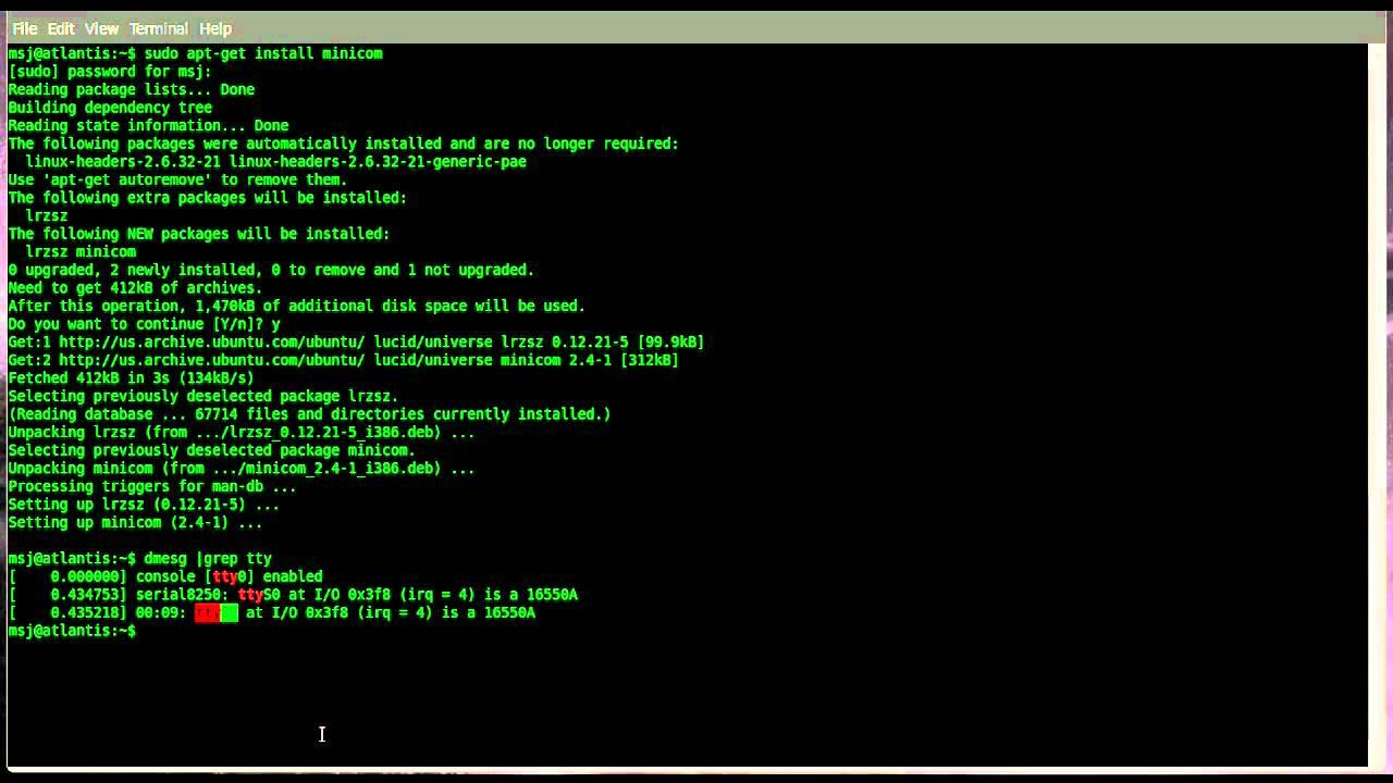 Configure minicom to communicate with Cisco device