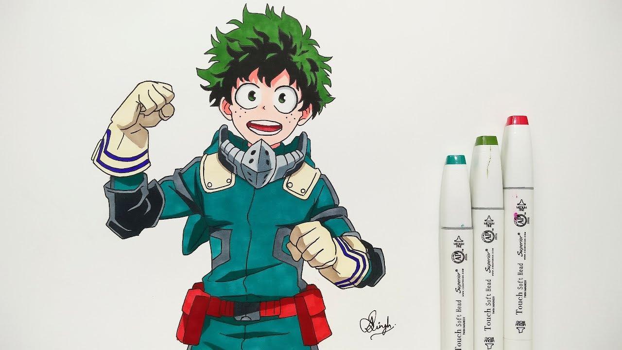How to draw izuku midoriya step by step tutorial boku no hero