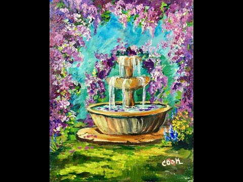 Paint A Fountain round Cascading Wisteria Flowers Beginning Acrylic Artists #LoveSummerArt2017