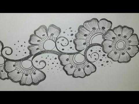 easy arabic mehndi designs on paper with pencil