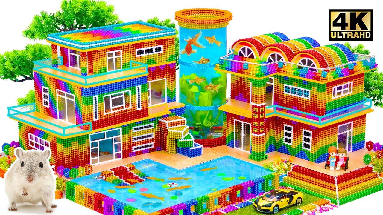 Satisfying Video | DIY Build Mega Summer Mansion Have Swimming Pool & Fish Tank Tower At The Center