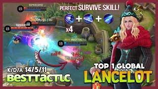 The Next Level Survive Skill of Lancelot! вeѕттacтιc Top 1 Global Lancelot ~ Mobile Legends