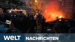 1. MAI-RANDALE: Polizei löst Corona-Proteste in Berlin und Hamburg knallhart auf