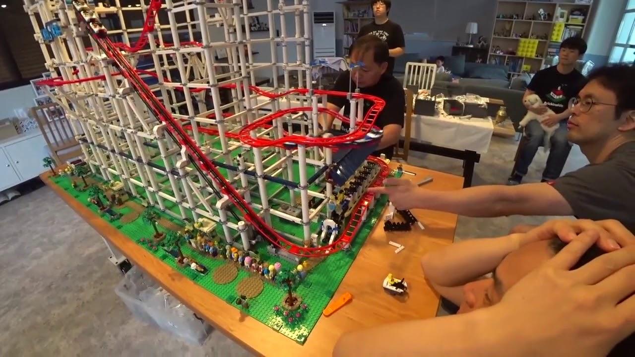 6 X Lego Achterbahn Sets Zusammengebaut Riesenachterbahn Lego Roller Coaster 10261 Youtube