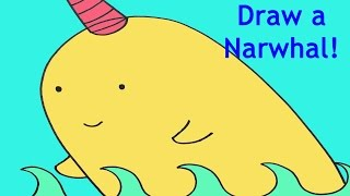 How To Draw A Narwhal Narwal Simple Drawing Lesson For Kids