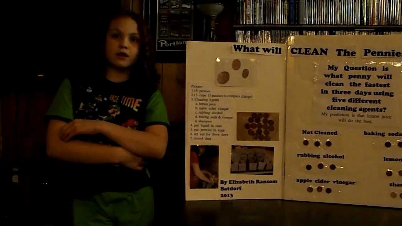Elizabeths Penny Cleaning Science Project  YouTube