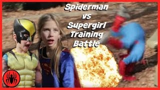 Little Heroes Spiderman vs Supergirl in Real Life | Wolverine Warns Supergirl | SuperHero Kids Movie