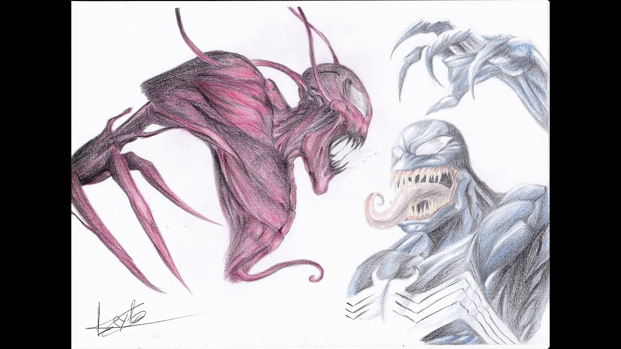 How To Draw Carnage Vs Venom Timelapse Como Dibujar Carnage Vs Venom