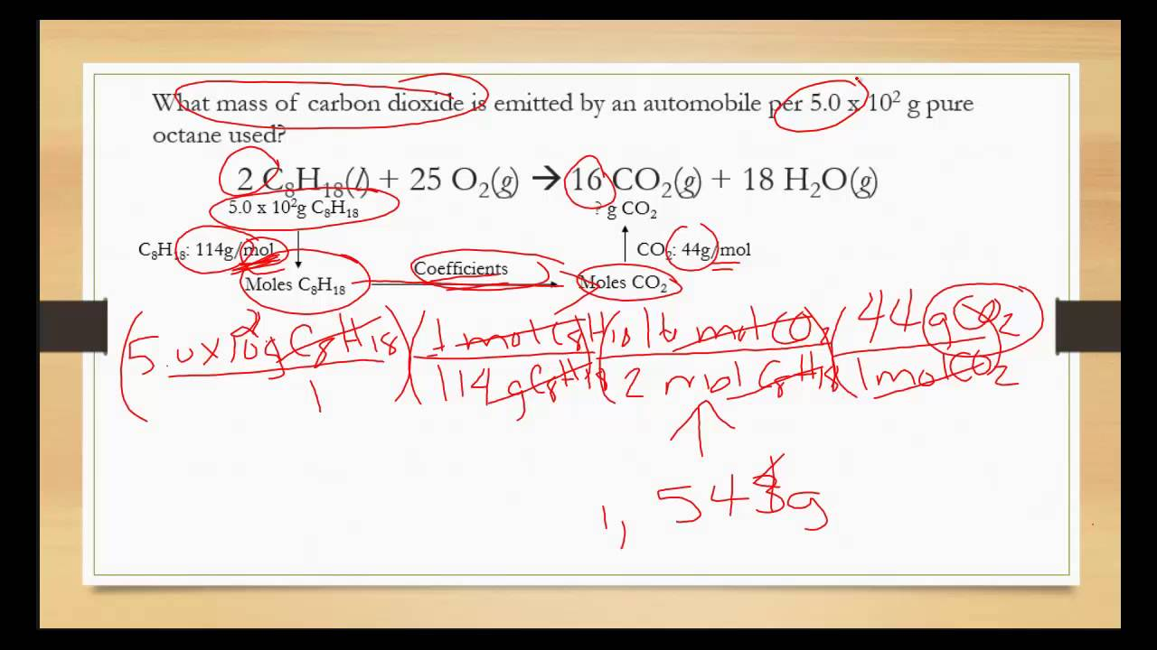 Quantities in Chemical Reactions stoichiometry mass to mass ...