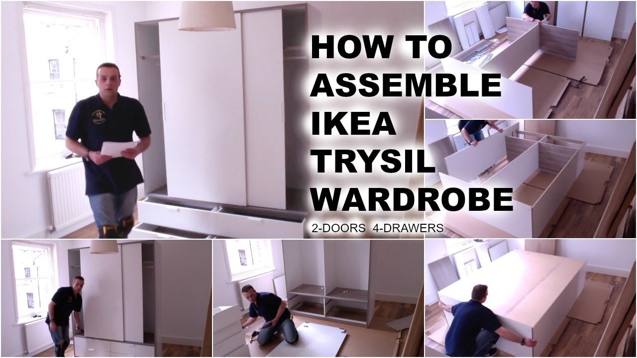 Ikea Schreibtisch Jonas Neupreis ~ IKEA TRYSIL Wardrobe with sliding doors and 4 drawers  YouTube