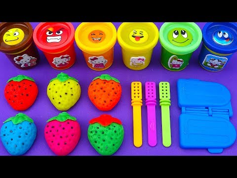 Learn Colors with Play Doh Ice Cream Strawberry Surprise Toys Disney Princess Kinder Surprise Eggs