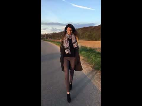 """Lara goes for an evening walk in Buffalo High Heels Ankle Boots 6"""" inch small platform, 15cm"""