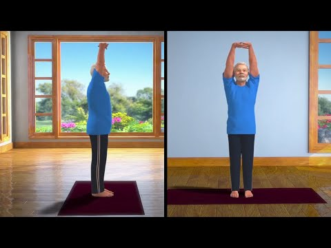 pm modi tweets second animated yoga video on tadasana