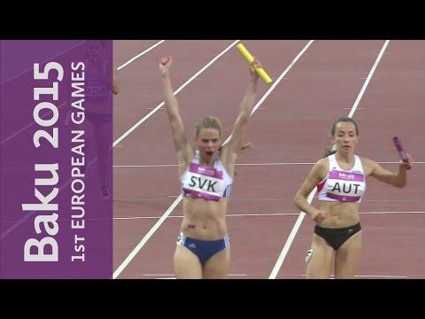 Slovakia victorious in the Women's 4x100m | Athletics | Baku 2015 European Games