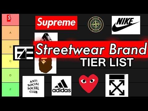 STREETWEAR BRAND TIER LIST 2019