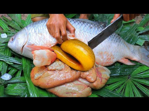 Wow! A lot of Eels In Big Fish Stomach - Fried Tasty Eels Recipes In Forest