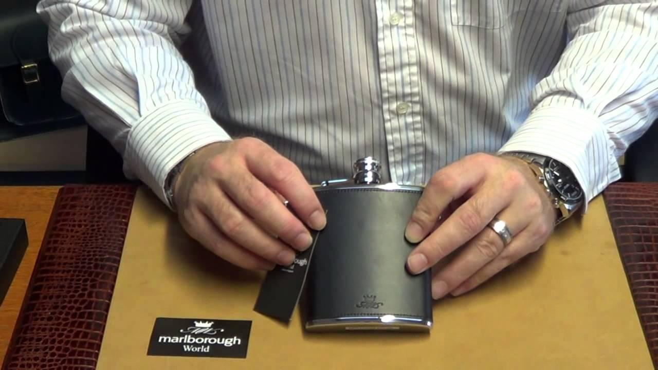 Marlborough Of England Black Leather 6oz Hip Flask Youtube