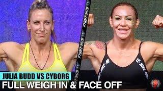 JULIA BUDD VS. CRIS CYBORG - FULL WEIGH IN & FACE OFF VIDEO | BELLATOR 238