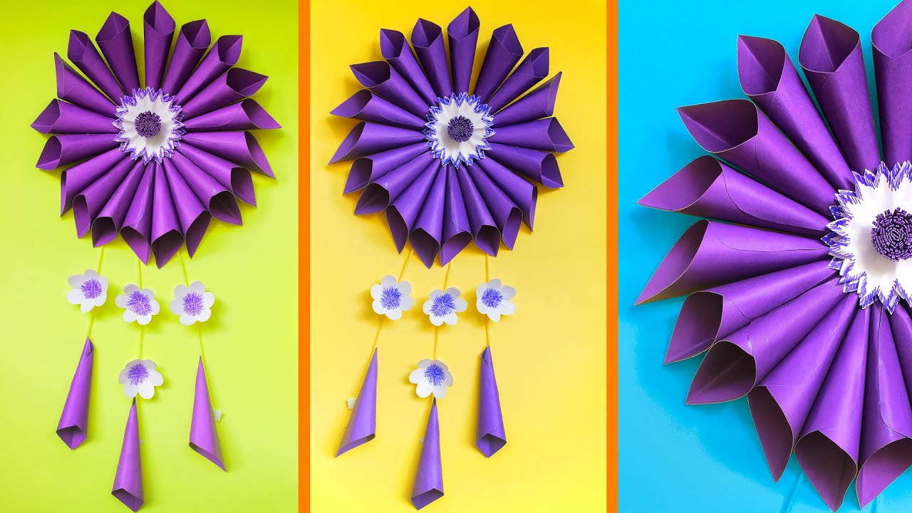 DIY SIMPLE ROOM DECORATION IDEA WALL HANGING FLOWER PAPER CRAFT - PAPER CRAFT