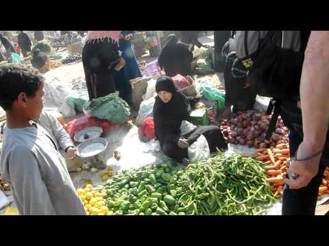 Egyptian marketplace with huge fruits and vegetables