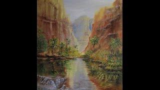 рисуем вместе ,простой способ нарисовать картину (видео - 1 )(описание простого способа написания картины маслом, горный пейзаж , река - нарисовать своими руками